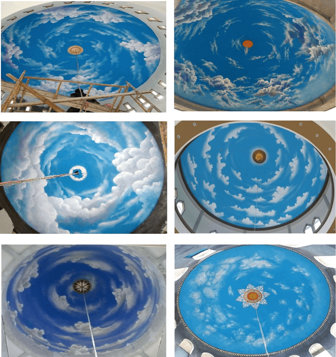 motif plafon kubah awan